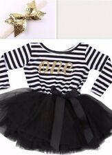 Baby Girls First 1st Birthday Outfit Tutu Skirt Dress Black Cake Smash Headband