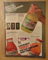 Vintage 1980's GATORADE SPORTS DRINK Original 1984 Print Ad Advertising