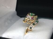 Ladies 14 Ktjaguar Ring With Emerald Spots, Ruby Eyes And Diamonds Size 7