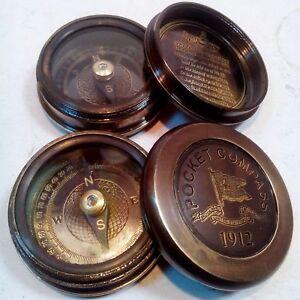 Lot of 2 Pcs Antique Pocket Style Maritime Engraved Brass 1912 Poem Compass
