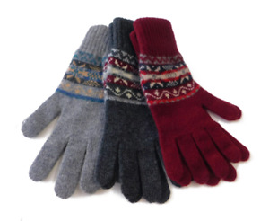 Traditional 5 Colour Fair Isle Lambwool Gloves - Handcrafted in Hawick, Scotland