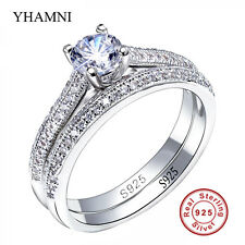 Engagement Band Ring Set CZ 925 Sterling Silver Women 2-in-1 Wedding Jewellery 8