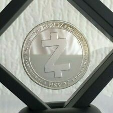 Fine Silver Plated Zcash ZEC Crypto Novelty Coin In 3D Floating Display Stand