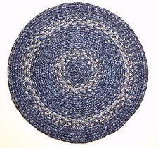 "Homespice Decor DENIM Blue Braided Jute 15"" Round Placemat - Trivet"