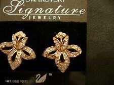 SWAROVSKI Swan Signed Orchid Pierced Earrings 14K Gold Posts  Mint Beautiful