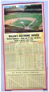 1957 Detroit Tigers Briggs Stadium Schedule 16x33 Original poster G condition