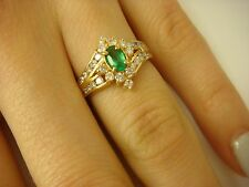 14K YELLOW GOLD GENUINE COLOMBIAN  EMERALD & DIAMONDS LADIES COCKTAIL RING.