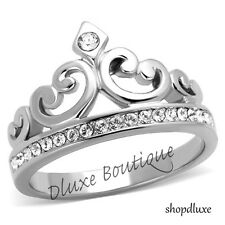 Women's CZ Stainless Steel Queen Royalty Princess Crown Fashion Ring Size 5-10