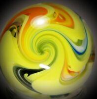 "Rick Davis~HONEYSUCKLE SWIRL~Glass Marble 2011~SIGNED~42MM/1 & 1/2"""