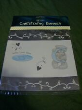 Me to You Tatty Teddy Bear Christening Banner & 6 White Balloons Boy or Girl