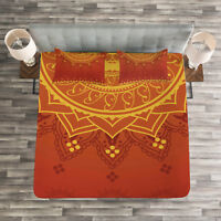 Leaf Quilted Bedspread & Pillow Shams Set, Traditional Saree Print