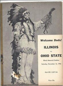 1946 11/16 football program Ohio State Buckeyes Illinois Fighting Illini no covr