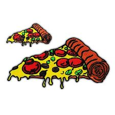 2 Lot PIZZA Slice Tomato Embroidered Iron On Patch Applique Fast Food Biker New
