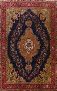Antique Floral Tebriz Hand-knotted Area Rug Medallion Oriental Wool Carpet 9x12