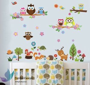 Squirrel/Fox/Bird/Deer/Owl/Flower/Grass/Tree/Nursery Baby Kid Wall Sticker Decal
