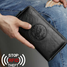 Men's Business Leather Clutch Black Long Wallet RFID Blocking Card/Phone Holder