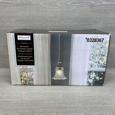 NIB Allen & Roth Mini Polished Pewter Pendant Light Fixture Glass Colfax New