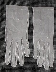 VINTAGE BLUE GRAY LEATHER GLOVES WOMEN'S SIZE 6 1/4 54
