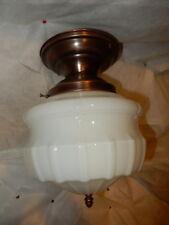 Large Milk Glass Shade on Brass Flush Mount Fixture