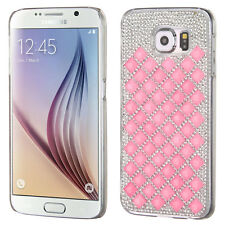 For SAMSUNG Galaxy S6 BB PINK CLEAR DIAMOND DESIRE COVER CASE+ GLASS SCREEN