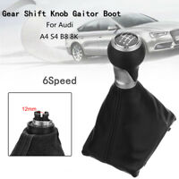 6 Speed Car Gear Shift Knob Gaiter Boot PU Leather For Audi A4 S4 B8 8K  &
