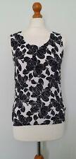 H & M Black White Floral Fine Knit Top Size 14 EUR 40 (Would fit 12)