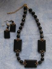 Vintage 90's Square Block Black Glass Bead Necklace & Earring set Chunky