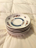 6 VINTAGE ENGLAND WEDGWOOD CHINESE TEAL FLORAL ROUND SAUCER PLATES DISH LOT SET