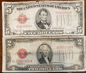 1928E $5 Dollar & 1928F $2 Dollar United States Red Seal Notes (**Ugly**)