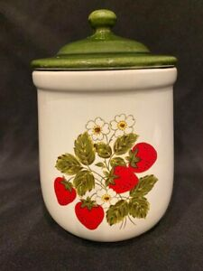 """Vintage - McCoy Pottery - Small Strawberry Canister - Approximately 7 ½ """""""