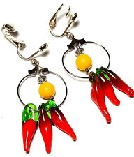 a Pair of Chilli Pepper Hoop Earrings Chandelier Silver Clip-on Bead Drop Dangle