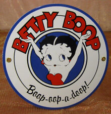 "Betty Boop Sign Boop-Oop-A-Doop! Porcelain Metal Decor 9"" Round Advertising Nice"