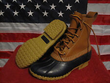 "Womens LL BEAN Boots 8"" Lace Snow Rain Mud Duck Tan/Navy Blue Rubber/Leather 6M"