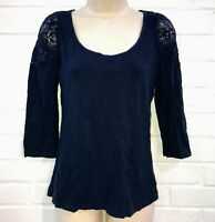 H&M Size M Lace Trim Half Sleeve Top Stretch - Blue