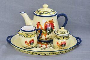 Temp-Tations Rooster Teapot, Creamer & Sugar Bowl W/ Serving Platter