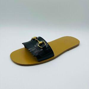 Gucci Men's Black Leather Fringe Horsebit Slip Sandal EU 7.5G/US 8 510100 1000