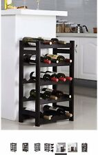20 Bottle Wood Wine Rack 5-Tier Bottle Display Storage Shelves Free Standing