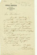 W78-(MASSONERIA) LETTERA AUTOGRAFA FIRMATA, LUIGI STEFANONI, IL LIBERO PENSATORE