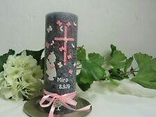 Taufkerze Rustikal Vintage Mädchen  kleiner Engel in Rosa Weiß