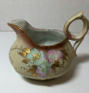 Vintage Creamer Tan With Flowers Transfer with Hand painting