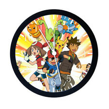 Pokemon Pikachu Ash Black Frame Wall Clock E07