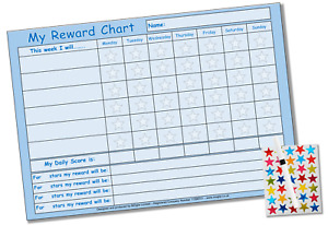 Re-usable Good Behaviour Reward Chart Free Stickers Pen Blue Green Yellow White