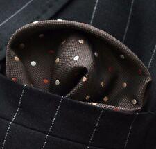 Hankie Pocket Square Handkerchief Brown with Brown Orange & White Spot