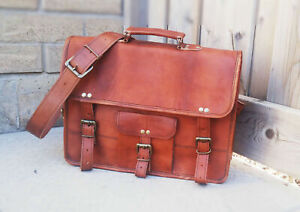 "16"" Men's Best Leather Computer Laptop Messenger Handmade Briefcase Bag Satchel"