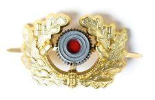 WW2 GERMAN VISOR CAP BADGE GOLD ARMY PANZER OFFICER'S UNIFORM WREATH COCKADE