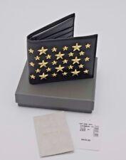 Jimmy Choo Mark Black Leather Star Gold Studded Bifold Wallet New NWT NIB $625