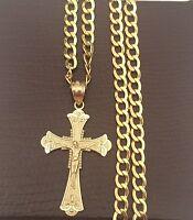 10k Yellow Gold Jesus Crucifix Cross Pendant Charm Cuban Link Chain 20 inch
