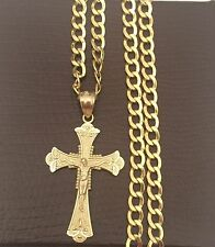 10k Yellow Gold Jesus Crucifix Cross Pendant Charm Cuban Link Chain 20 inch