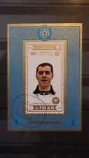 1x Bloc Sheet AJMAN Football Franz Beckenbauer imperf. Cachet MNH** Munchen 74