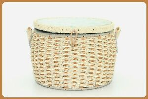 VTG Wicker Basket Round Sewing Teal/Turquoise Blue Lid Box Dritz + Accessories